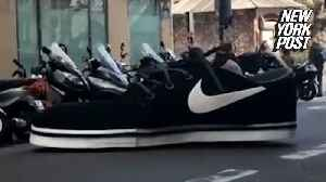 Giant Nike car is a shoe-in for weirdest vehicle ever [Video]