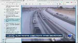 Slow traffic conditions Thursday after snowstorm [Video]