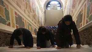 Watch: Devotees climb restored Vatican Holy Stairs on their knees [Video]