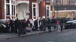 Assange supporters gather outside Ecuador Embassy after his arrest [Video]