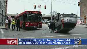Six Hospitalized After Bus, SUV Collide On North Shore [Video]