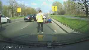 Footage Shows A Deer Hitting A Motorcyclist In The City [Video]