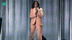 Michelle Obama Rocks Pink Crystal Suit [Video]