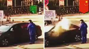 Man smoking at gas station gets fire extinguisher to the face [Video]