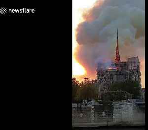 News video: Moment Notre Dame's spire collapses during massive fire