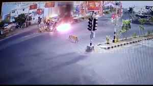 Security cam films terrifying moment truck catches fire in central India [Video]