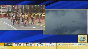 Split Screen: Boston Marathon Elite Women & F-15 Flyover [Video]