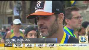 News video: NASCAR Champion Jimmie Johnson Completes Boston Marathon Run