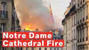 News video: Notre Dame Cathedral Spire Collapses In Massive Fire