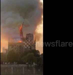 News video: Shocking moment iconic Notre-Dame spire collapses into flames
