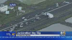 Jack-Knifed Big Rig Blocks All EB Lanes On Dumbarton Bridge [Video]