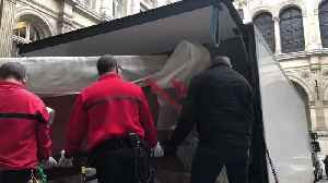 Notre Dame Artworks Saved From Fire Removed From Shelter at City Hall [Video]