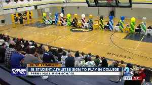 Perry Hall High student athletes celebrate signing day [Video]