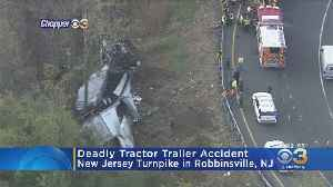 Driver Dead After Tractor-Trailer Crash On New Jersey Turnpike [Video]