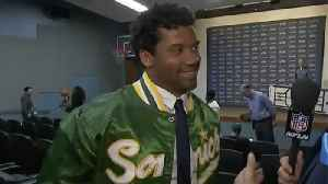 Seattle Seahawks quarterback Russell Wilson dons Sonics jacket after presser: 'We want to bring them back' to Seattle [Video]