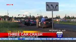 Two injured in three-car crash off Highway 99 in Chico [Video]