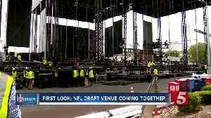 First look: NFL Draft stage takes over Broadway [Video]