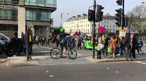 Climate Change protesters block off central London road during rush hour [Video]