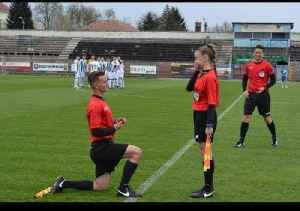 Assitant Referee Proposes to Girlfriend before Soccer Game [Video]