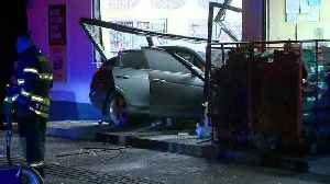Car flies off roadway, plows into front of gas station convenience store [Video]