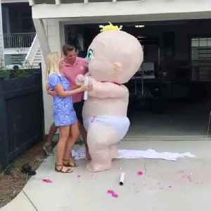 Huge Inflatable Baby Dances at Gender Reveal Event [Video]