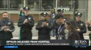 Officer Shot In Manhattan Checks Out Hospital [Video]