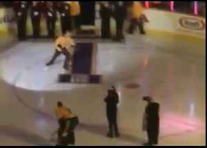Gavin DeGraw Falls Hard on Ice After Singing National Anthem at Hockey Game [Video]