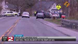 One flown to hospital after car, fuel truck crash in Lee [Video]