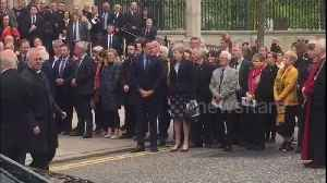 Theresa May and Leo Varadkar leave St Anne's Cathedral after Lyra McKee's funeral service [Video]