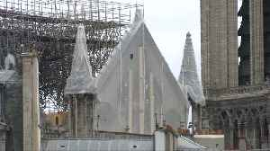 Workers install tarps to protect gutted Notre Dame from rain [Video]