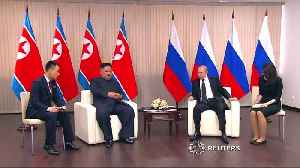 Kim Jong Un and Putin call for closer relations at first-ever summit [Video]