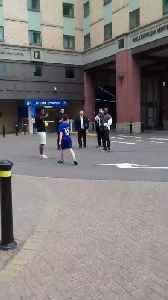 News video: Chelsea star Willian has kickabout with young fan outside Stamford Bridge
