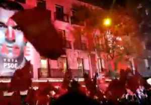 Socialists Celebrate Election Result Outside Party's Madrid HQ [Video]