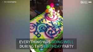 Dad drops daughter's birthday cake [Video]