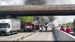 One dead after bus crash inferno [Video]
