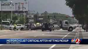 Motorcyclist critical after hitting pickup truck, officials say [Video]