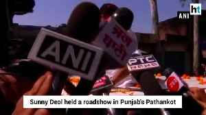 Lok Sabha polls Actor turned neta Sunny Deol holds roadshow in Pathankot [Video]