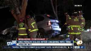 One person killed after collision into tree in Mission Bay [Video]