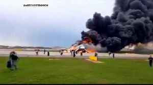 Russian plane on fire makes emergency landing in Moscow [Video]