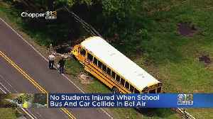 School Bus Crashes With Car In Bel Air, 1 Child Taken To Hospital [Video]