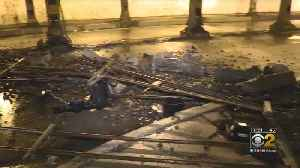 Concrete And Steel Fall From South Side Railroad Bridge [Video]