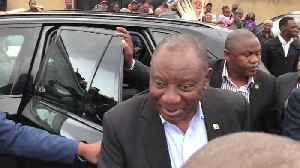 South African President Cyril Ramaphosa Addresses Supporters Before Casting Vote in General Election