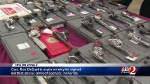 Gov. DeSantis explains why he signed bill that allows armed teachers in Florida