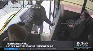 NY Bus Driver Saves Teen From Speeding Car [Video]