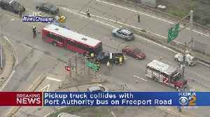Pickup Truck Collides With Port Authority Bus On Freeport Road [Video]