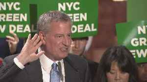 De Blasio 'Green New Deal' Event At Trump Tower [Video]
