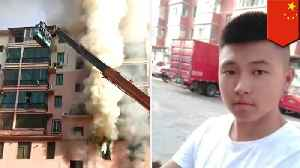 Teen rescues 14 people from fire with construction crane in China [Video]
