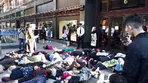Extinction Rebellion activists hold dramatic 'die-in' outside Harrods and one rants at security guards [Video]