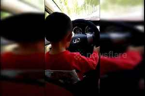 Baby driver! Chinese parents fined after allowing their three-year-old driving on road [Video]