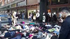 "Extinction Rebellion activists hold dramatic ""die-in"" outside Harrods and one rants at security guards [Video]"